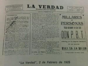"""Primer ejemplar de """"La Verdad"""", aparecido el 2 de febrero de 1925."""