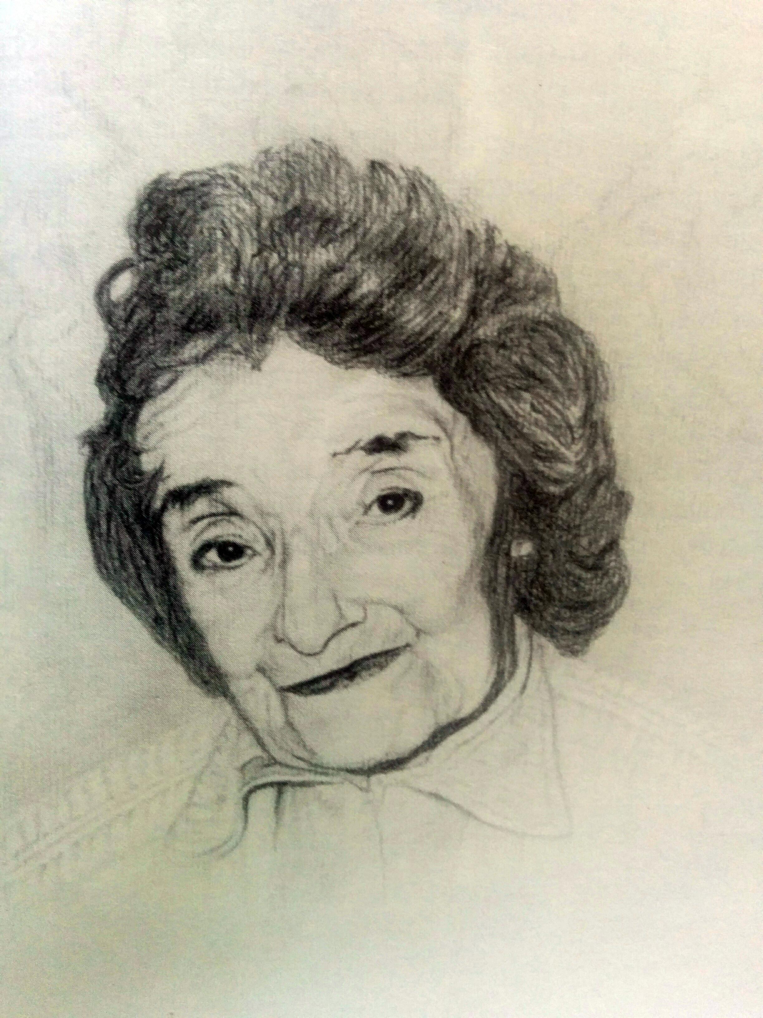 Retrato a lápiz, de la Profesora, Leontina Poch Grondona, realizado por el eminente médico cirujano y artista plástico local, Dr. Daniel Emilio Pastorino (1926-2005)