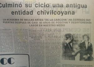 """La Academia """"De la Cárcova"""", fundada en 1906, que cerro sus puertas después de más de 80 años de labor educativa, en 1988"""
