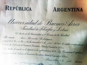 Diploma de la Profesora Ana Mercedes Rodríguez (Junio de 1954)