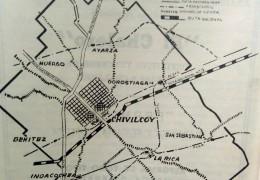 Mapa del partido de Chivilcoy, indicándose la ubicación geográfica, de la localidad rural de Ramón Biaus