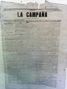 """Ejemplar del periódico bisemanal """"La Campaña"""", aparecido el jueves 18 de marzo de 1875."""