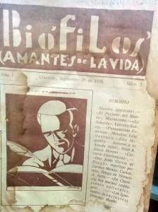 Revista Biófilos (Caratula), aparecida en el mes de septiembre de 1935