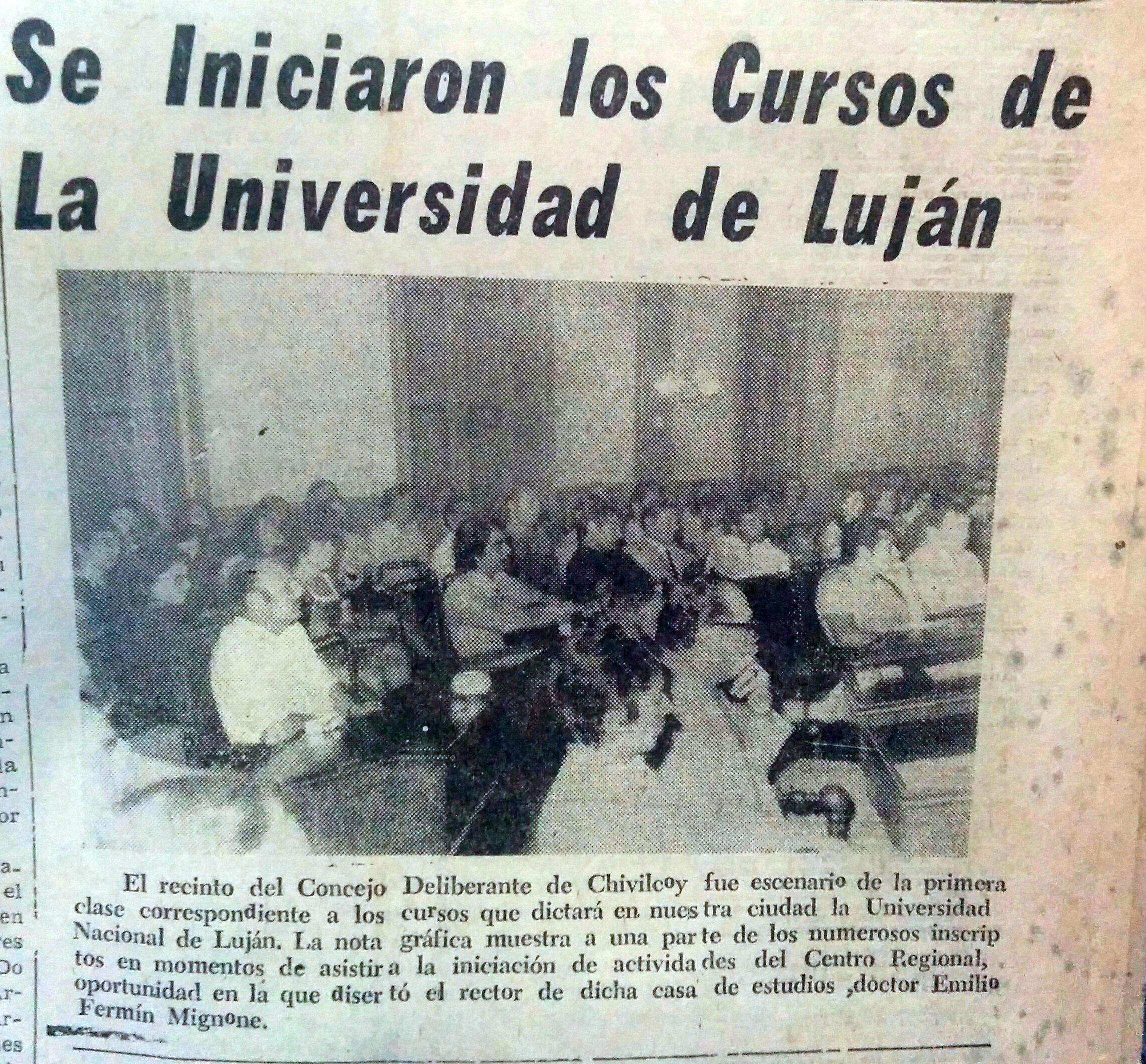 Cursos de la Universidad de Luján, (Se iniciaron en el recinto del Congreso Deliberante, en el mes de abril de 1974)