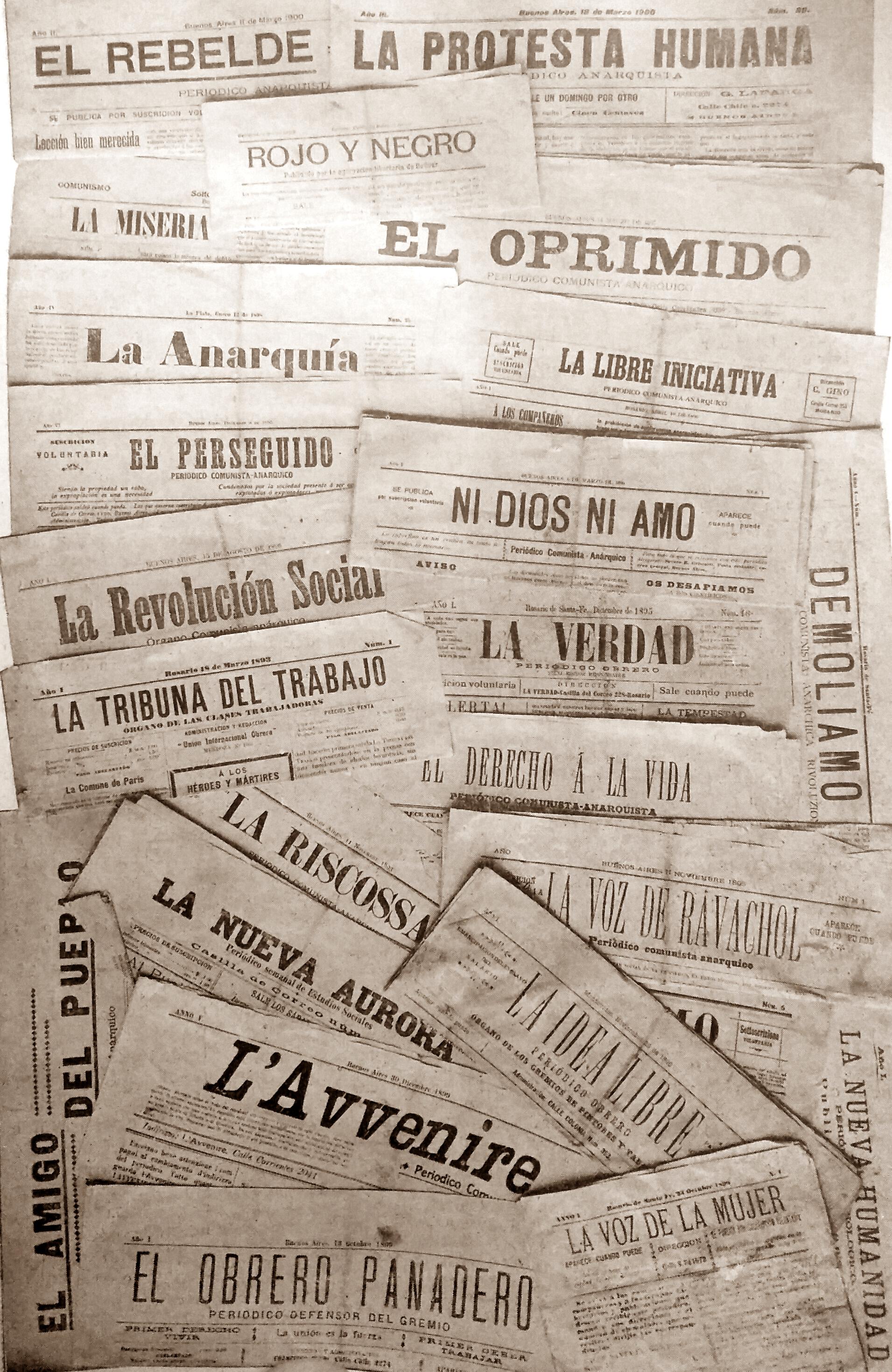 Diarios y publicaciones, del movimiento anarquista, de la época, cuando asesinaron a Eloísa Simón, en febrero de 1903