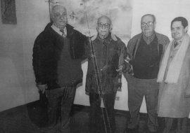 Osvaldo M. Spinelli, junto a Raimundo Moro, Héctor Manuel Antuña y Carlos Armando Costanzo, fundador y director del Archivo Literario.