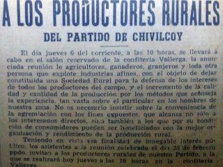 Convocatoria de productores rurales, en marzo de 1947.