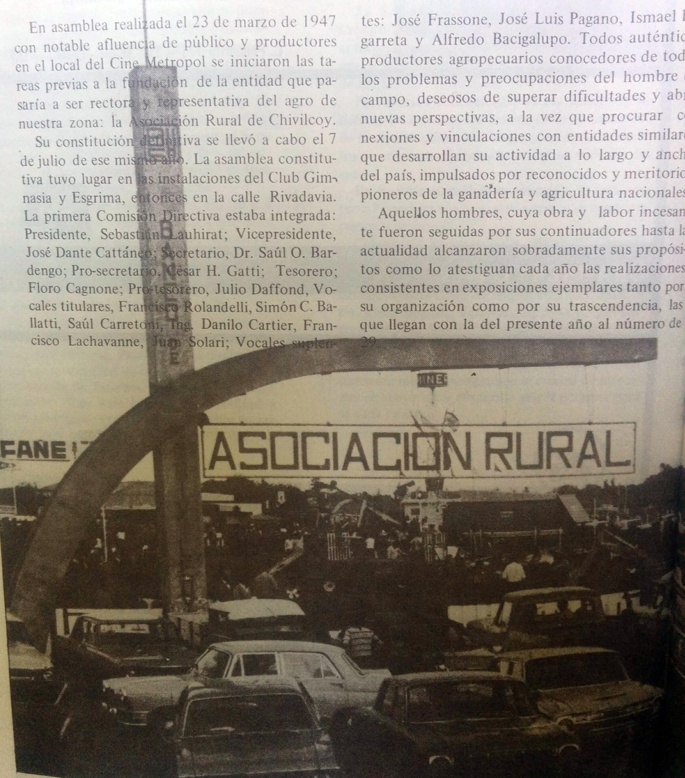 Predio de la Asociación Rural, en la Ruta Nº5, kilómetro 158, inaugurado el 12 de agosto de 1967.