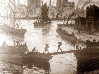 Obra del artista plástico argentino, benito Quiquela Martín (1890-1977), sobre la actividad de los trabajadores portuarios.