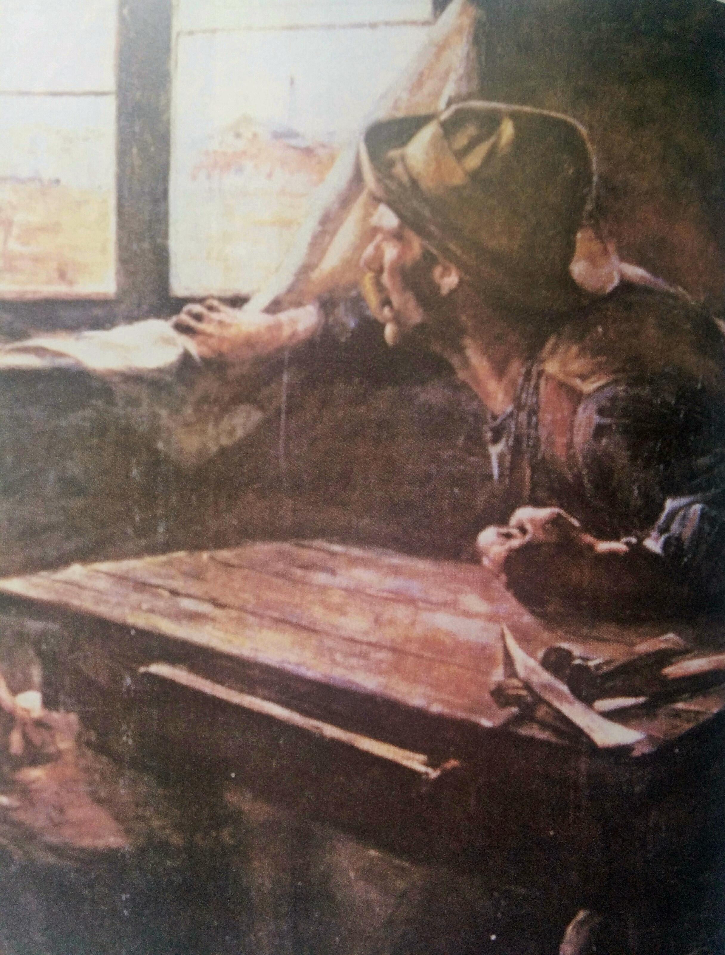 """Famoso y siempre recordado y vigente óleo, del notable pintor argentino, Ernesto de la Cárcova (1876-1927). La obra artística se títula: """"Sin pan y sin trabajo"""", y fue realizada en 1894."""