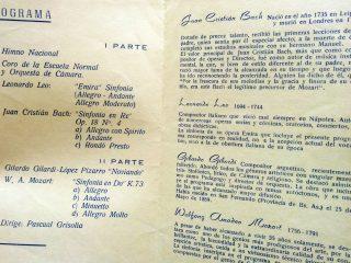 Programa de Concierto, de la Orquesta de Cámara de Chivilcoy.
