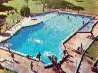Imagen área del natatorio, del camping del Club Social y Atlético La Pampa.