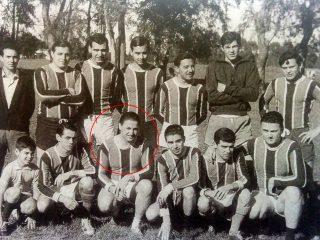 Equipo de Fútbol, del Club del Banco de Chivilcoy, presidido por Alfonso Tito Salvatore.