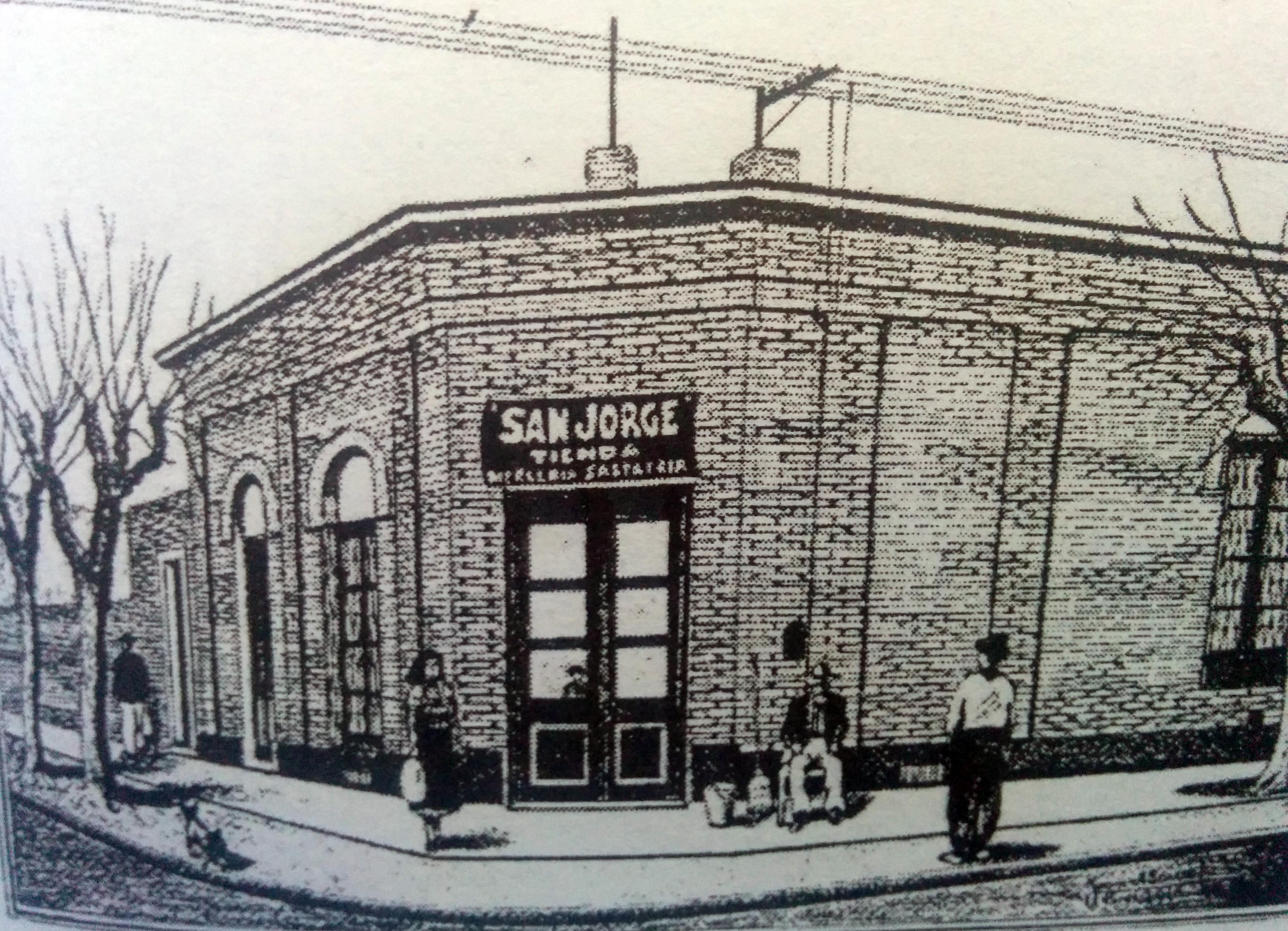 """La tienda """"San Jorge"""", en el dibujo del artista plástico, investigador del pasado, escritor, docente y procurador, Juan Antonio Larrea."""