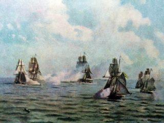 Combate naval, durante la Guerra del Brasil, el 11 de abril de 1826.