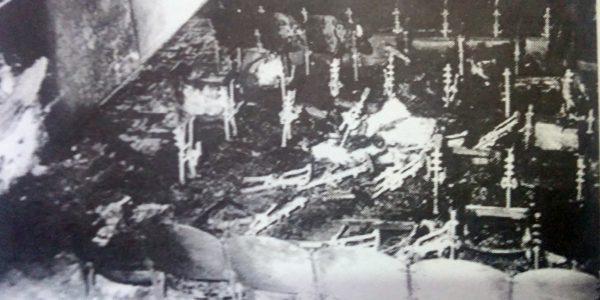 La sala del Chasqui, después del grave y devastador atentado explosivo, de la noche del 17 de diciembre de 1975.
