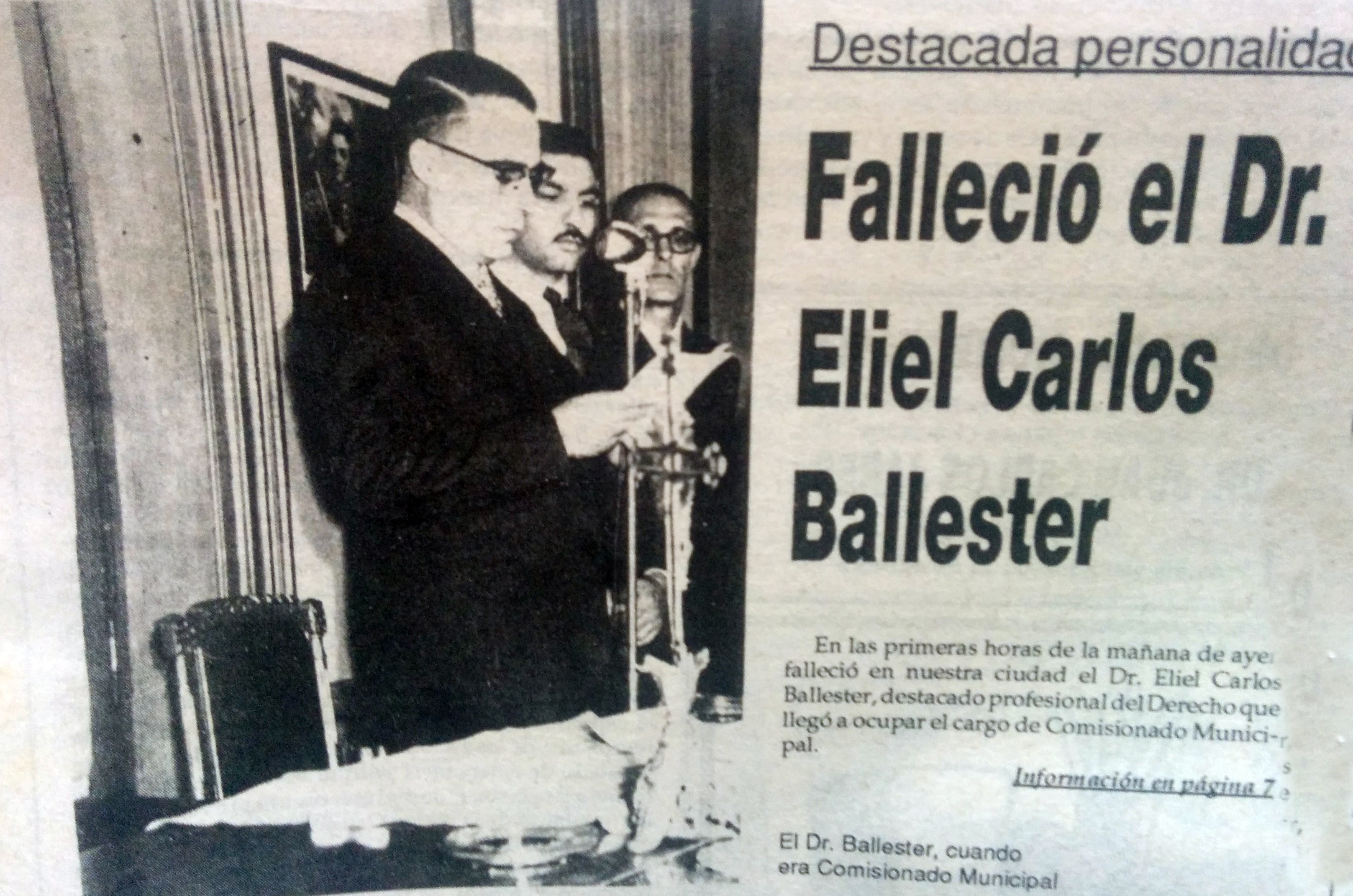 Dr. Eliel Carlos Ballester (1914-1993), ex comisionado municipal de Chivilcoy, entre 1957 y 1958.