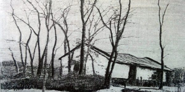 El rancho de adobe de Don Alejandro Amaya, en el dibujo del artista plástico, escritor e investigador del pasado lugareño, procurador Juan Antonio Larrea