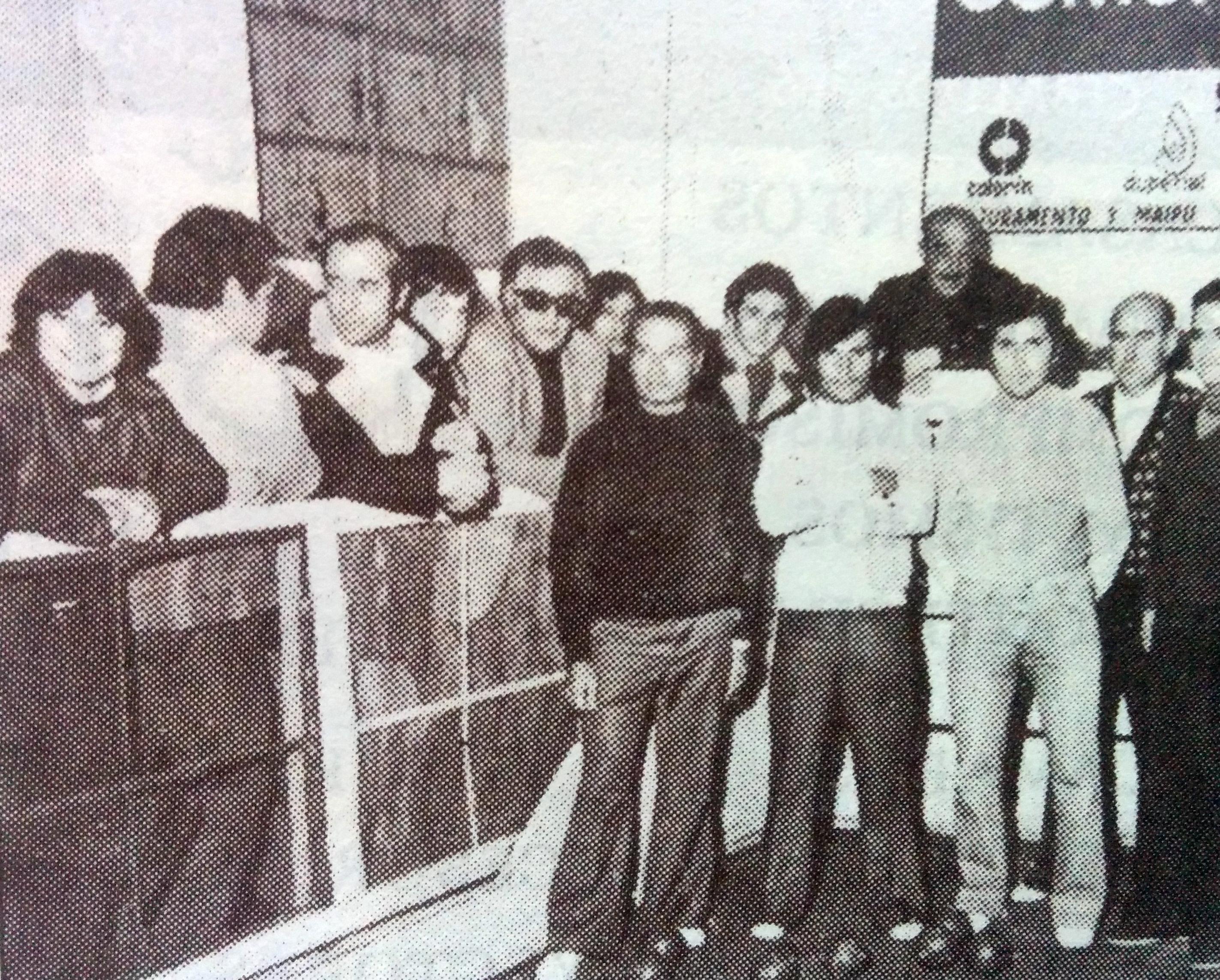 Torneo de bochas, de la década de 1970, en la cancha del Club Villarino.