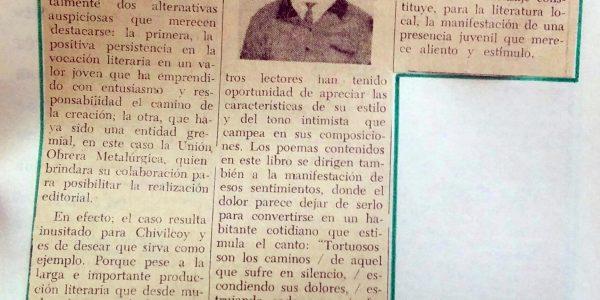 El joven y  malogrado poeta, Julio César Salinardi (1947-1972).