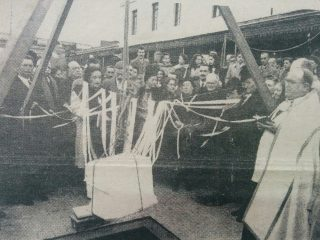 Colocación de la «Piedra Fundamental», de la actual templo de Nuestra Señora del Carmen, el 16 de julio de 1946.