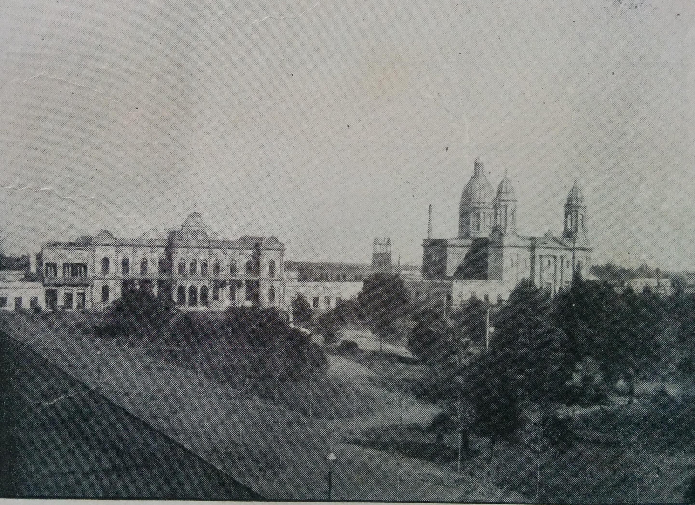 Vista panorámica del centro urbano de Chivilcoy, en 1918, cuando se registró la primera nevada.