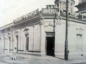 """La tradicional esquina de la cafetería """"La Perla"""", cuando allí funcionaba, en la década de 1910, la tienda """"La Universal"""" de Don José Lago."""