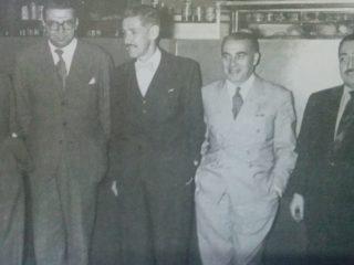 Argentino Galván, junto a los músicos argentinos, Osvaldo Pugliese, Ariel Ramírez, Carlos Guastavino y Lucio Demare.