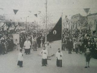 Clásica proceción de la Parroquia Nuestra Señora del Carmen, durante la década de 1930.
