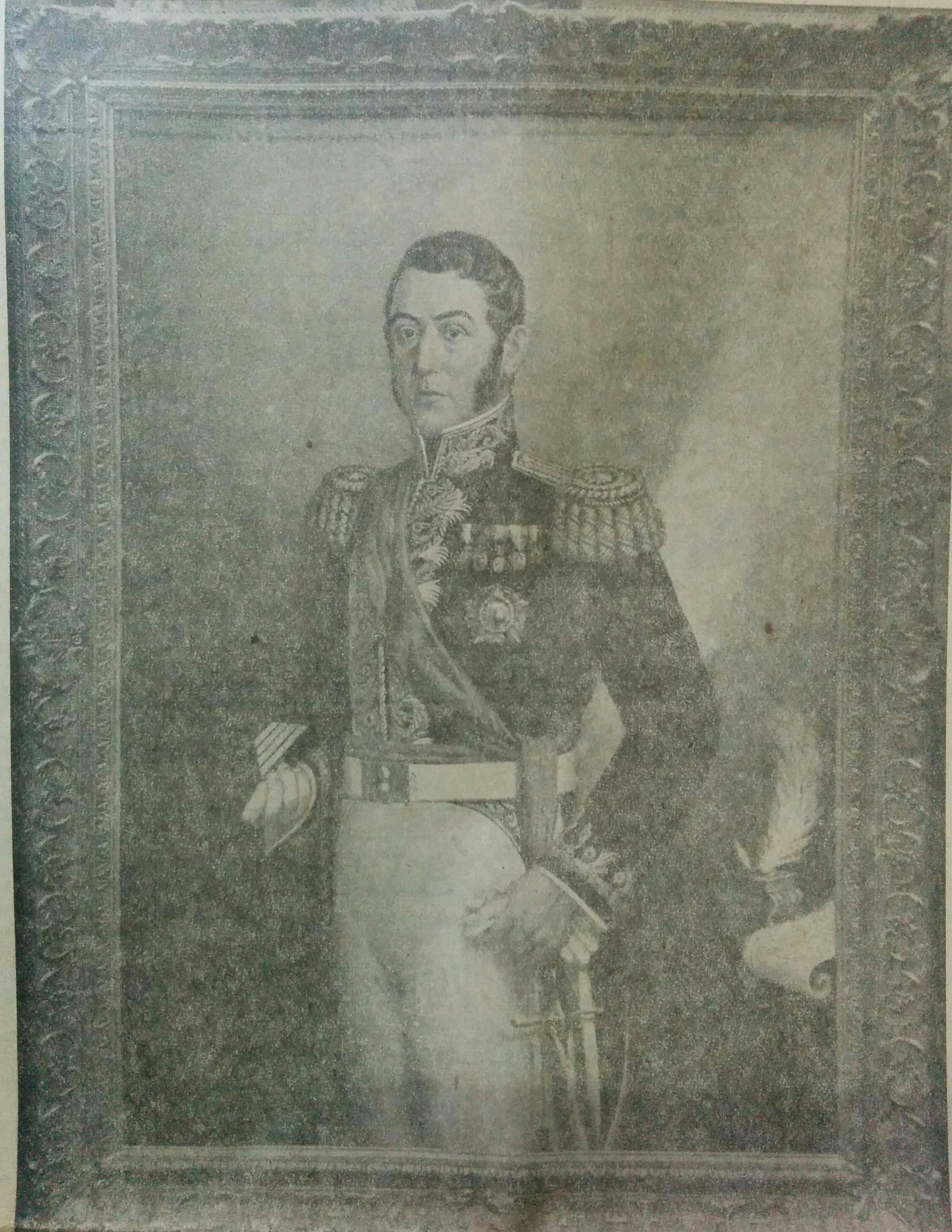 Retrato del General San Martín, perteneciente al artista plástico y docente argentino, profesor Edelmiro Volta (1901-1970), quien ejerció la enseñanza, aquí en nuestra ciudad, en las décadas de 1940 y 1950.
