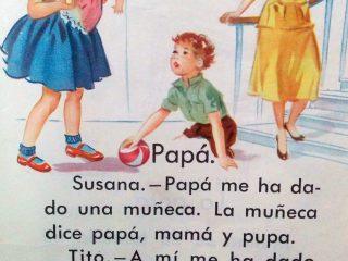 Ilustraciones correspondientes a distintos libros de lectura infantil, de la escuela primaria, en diferentes décadas.