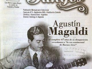 Portada de la revista «Recordando Tangos»(Nº5, del mes de septiembre de 2005), que editaba y dirigía, el notable y popularizado intérprete musical chivilcoyano, Mario Lagos (Domingo Antonio Bagnone), nacido en 1929 y fallecido en el año 2008.