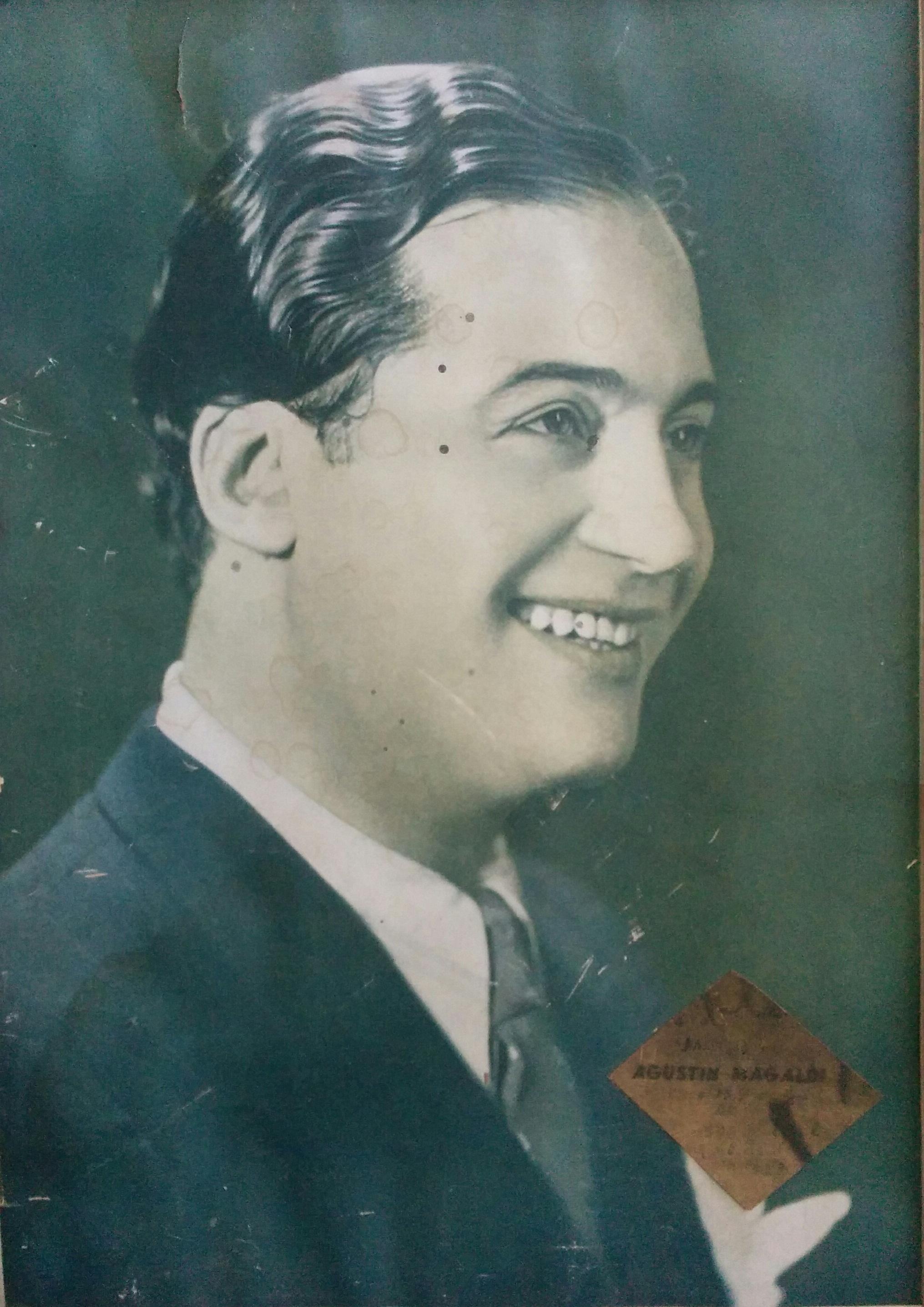 """El gran intérprete popular, Agustín Magaldi (1898-1938), quien visitó Chivilcoy, presentándose, en el cine-teatro """"Metropol"""", el 6 de agosto de 1936."""