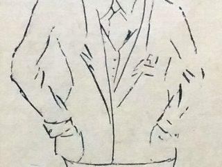 Caricatura del Ilustre médico lugareño, Dr. Carlos Andrés Correa (1877-1963), padrino de la ceremonia de inauguración, de la sede del Sanatorio Chivilcoy, en 1940.