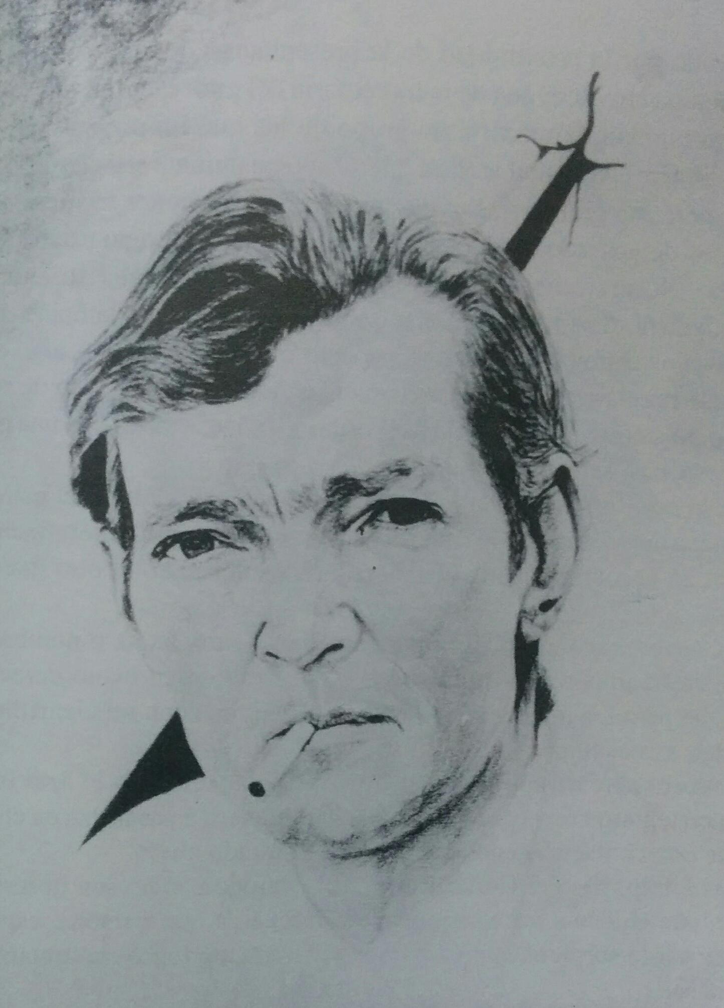 El gran escritor, Julio Florencio Cortázar, en el dibujo del eximio médico cirujano, y talentoso artista plástico, Dr. Daniel Emilio Pastorino (1926-2005), ex alumno de Cortázar, en las aulas de la Escuela Normal.