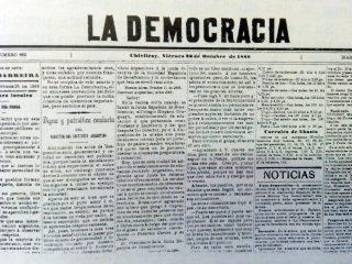 Diario local «La Democracia», fundado por Don Valerio A. Chaves, el 1 de noviembre de 1884. Allí, comenzó su labor, como operario gráfico o tipógrafo, el periodista, Don Pedro Panzardi.