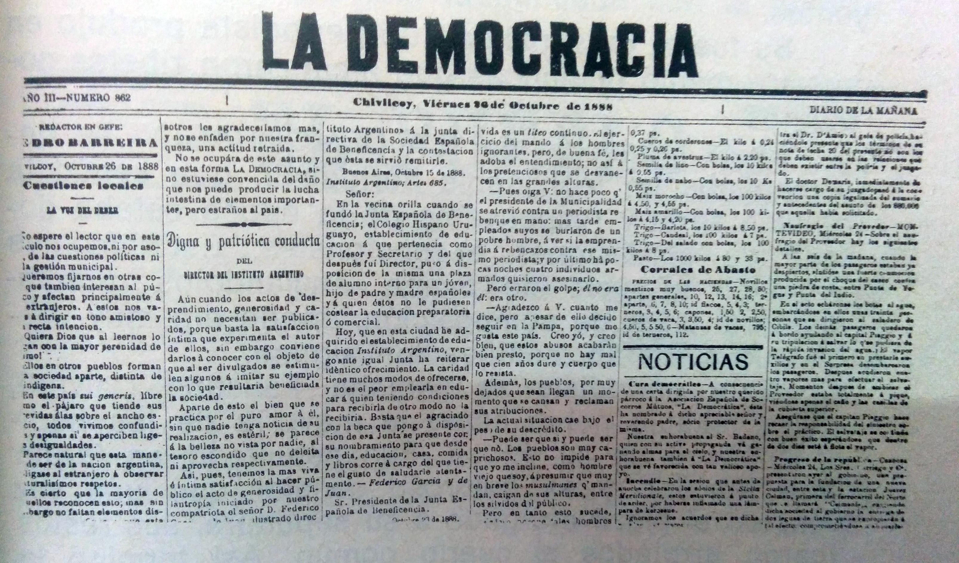 """Diario """"La Democracia"""", fundado por Don Valerio A. Chaves, el 1 de noviembre de 1884, donde se desempeñó, Faustino Carlos Calvetti, como uno de sus principales y más destacados redactores."""