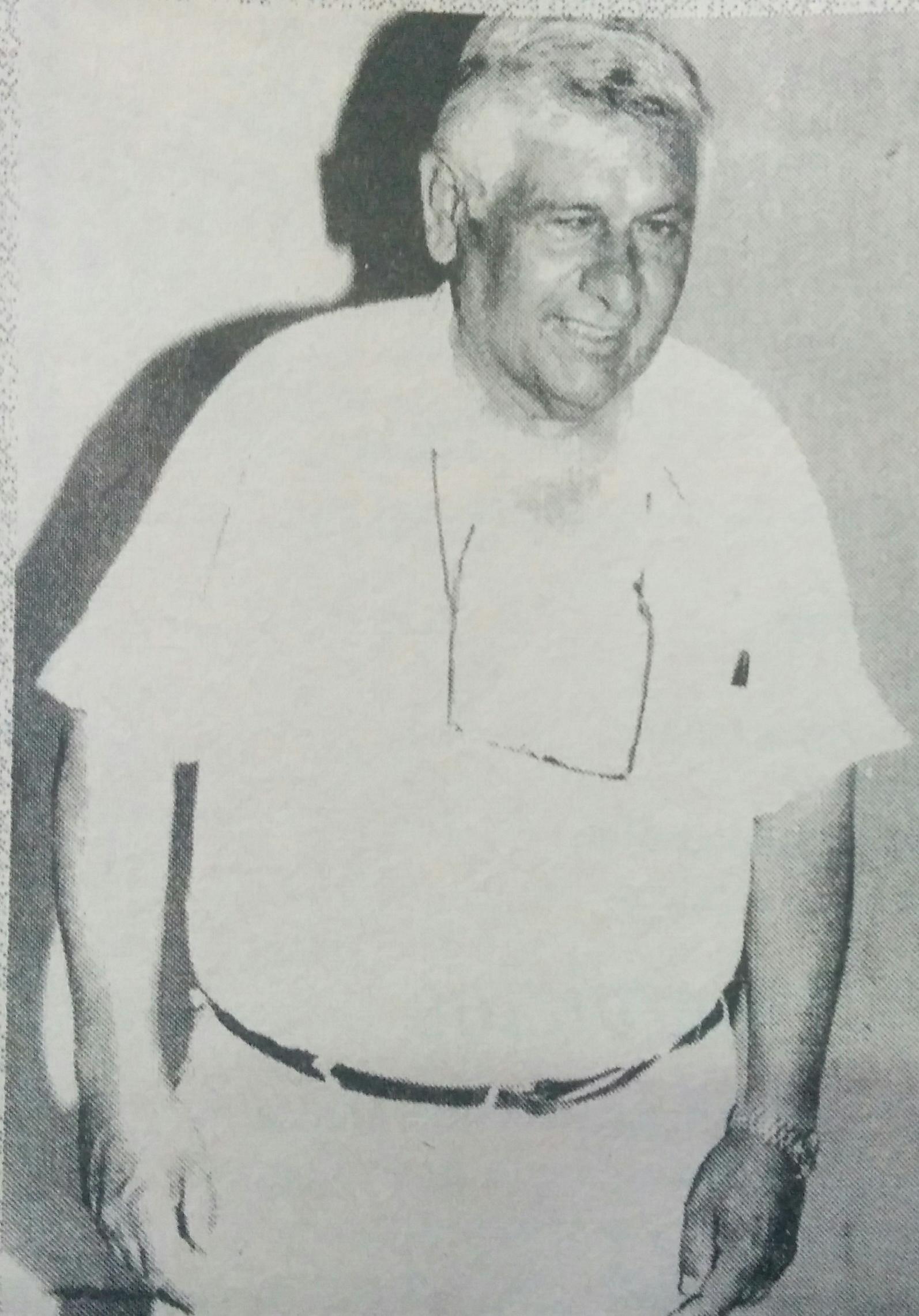Don Atilio Maradei, presidente, durante muchos años, de la Federación de Entidades de Fomento del Partido de Chivilcoy, organizada, el 24 de abril de 1984.