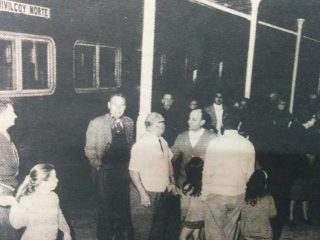El arribo del último tren de pasajeros, a la Estación Ferroviaria Norte, la noche del 13 de octubre de 1968.