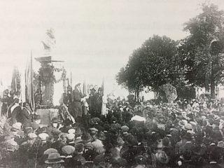 Ceremonia de inauguración oficial, del busto del General Bartolomé Mitre, el 22 de octubre de 1907.