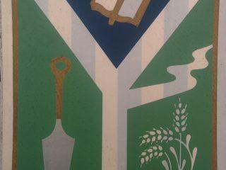 Escudo de Chivilcoy, que se aprobó, oficialmente, en noviembre de 1977, y entró en vigencia, a comienzos del año 1978.