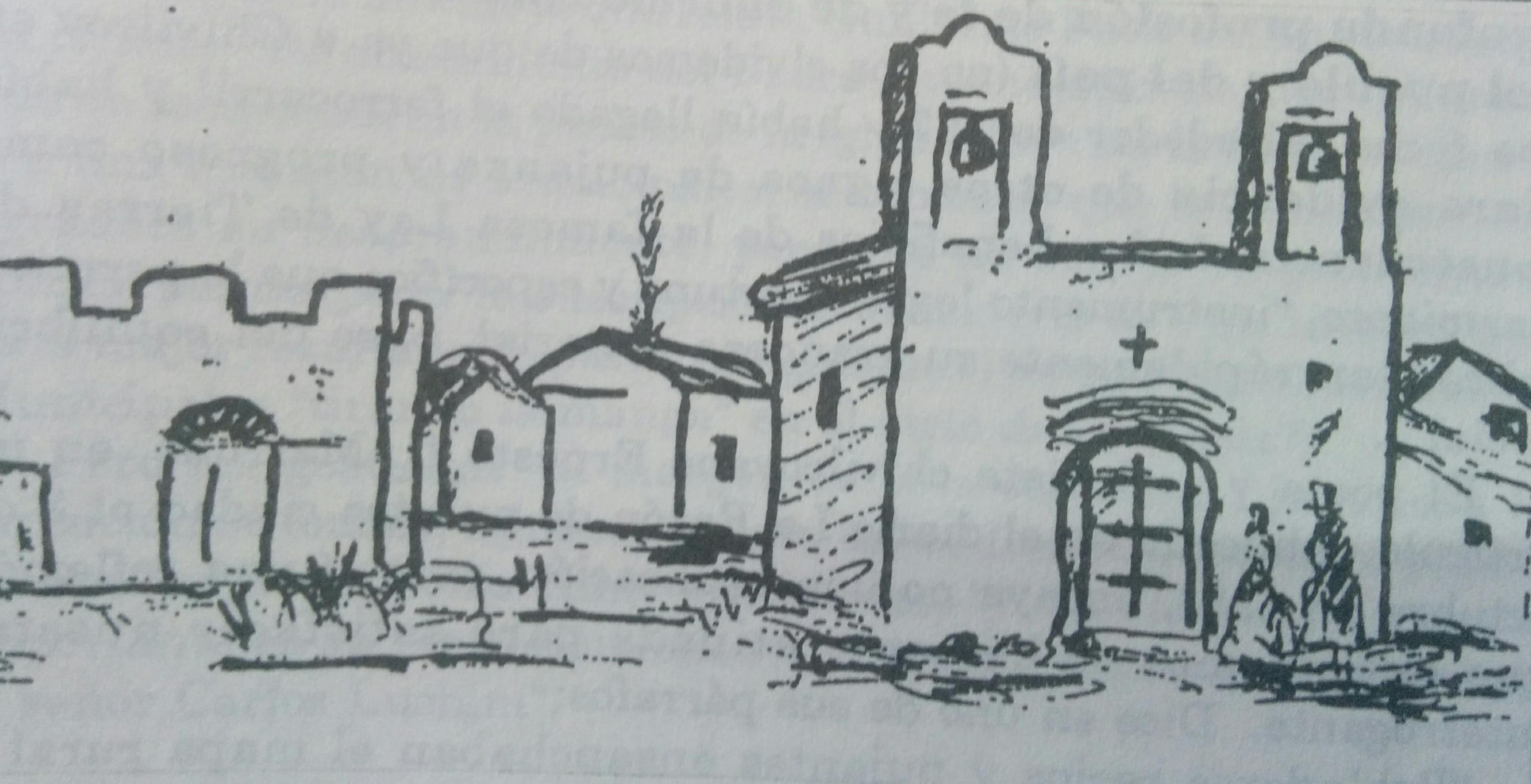 """Imagen de la primitiva capilla, en honor de la Virgen Nuestra Señora de Rosario, inaugurada en el mes de marzo de 1857, según un dibujo de Jean Paul Laverdet, quien ilustró el libro """"El Pueblo de Sarmiento"""", del Ing. Mauricio Birabent, en 1938."""