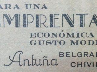 """Publicidad de la imprenta """"Antuña"""", correspondiente al mes de junio de 1943. Dicho establecimiento gráfico, se hallaba situado, en la intersección de las calles Belgrano y Río Juramento."""