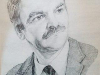Retrato al lápiz, del poeta Serafín Miguel Mastropierro, realizado por el notable médico cirujano y dibujante, Dr. Daniel Emilio Pastorino.