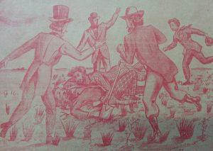 Recreación, en forma de historieta, de la ceremonia fundacional de Chivilcoy, el histórico domingo 22 de octubre de 1854; obra, del gran dibujante y hombre de la publicidad chivilcoyana, Agustín Domingo Guasco (1917-1975). Dicho trabajo, fue realizado en el año 1946.