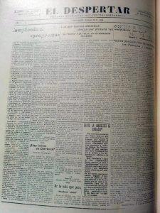 """Periódico socialista """"""""El Despertar"""", cuya primera edición, data del 4 de octubre de 1928. Desapareció, 30 años más tarde, en 1958."""
