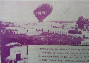 El globo de J. Silimbani, que llegó a nuestra ciudad, en 1909.