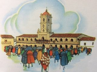 Ilustraciones de distintos libros de lectura, de escuela primaria, que corresponden a diferentes épocas, y recuerdan el ejemplo de nuestros próceres argentinos.