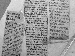 Recortes periodísticos, de la trayectoria educacional de Don Pedro Nicolás San Mauro.