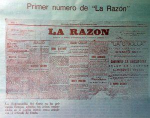 """Primer número del diario """"La Razón"""", correspondiente al miércoles 16 de noviembre de 1910."""